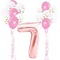 KUNGYO Rose Gold Birthday Party Decorations Kit for Adults Kids- Happy Birthday Letter Balloons Banner, Star Foil Balloons, Latex Confetti Balloons and Ribbons 33 Pcs Party Supplies