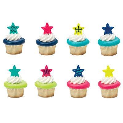 24 Pack Bright Stars Cupcake Picks Cake (Star Cake Ring)