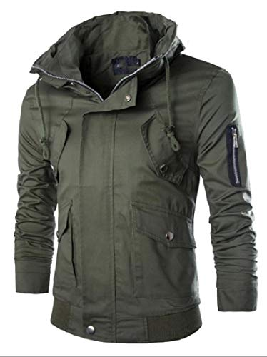 Army Windproof Premium Green Slim Fit Men's Zip Outwear Multi Pocket Jacket AngelSpace 7UqxBv4w5w