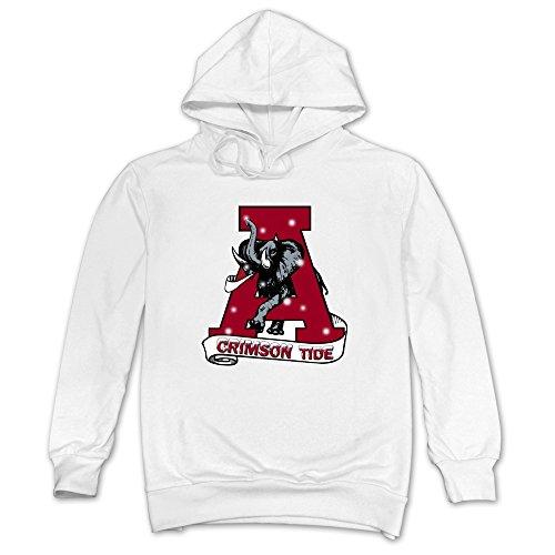 Men Merry Christmas Alabama Crimson Tide Hoodie White 100% Cotton ()
