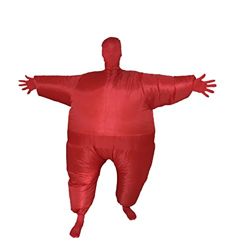 Full Body Solid Color Inflatable Masked Man Cosplay Costume Novelty Party Dress Blow Up Fancy Funny Jumpsuit (Red)