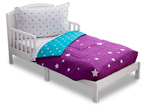 | Girls 4 Piece Collection | Fitted Sheet, Flat Top Sheet w/ Elastic bottom, Fitted Comforter w/ Elastic bottom, Pillowcase | Delta Children | Girls Starry Night | Purple Stars ()