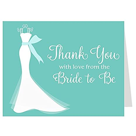 Amazon Com Bridal Shower Thank You Cards Wedding Dress Elegant