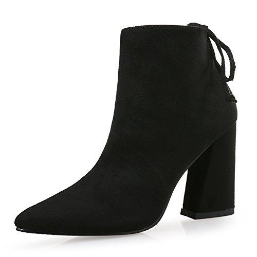 de de cuero de punta botas alto con gruesa lijado y cm 9 de Botas negro tacón 35 Tx51wqw