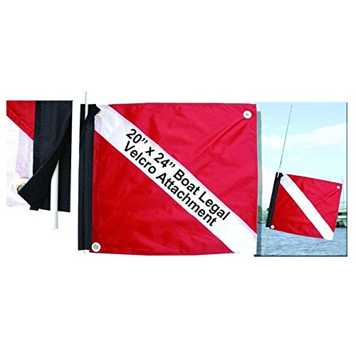 Marine Sport 4678 Deluxe 20 by 24-Inch Dive Flag with Velcro Attachment by Marine Sport