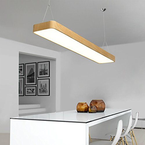 deng Modern Simplicity Office Lights Aluminum Office Lighting Study Workplace Bar Dining Table Led Ceiling Pendant Light Fixture 231,Wood Color-4000k