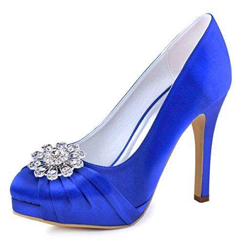 ElegantPark EP2015 Women Pumps Closed Toe Platform High Heel Buckle Satin Evening Prom Wedding Dress Shoes Blue US ()
