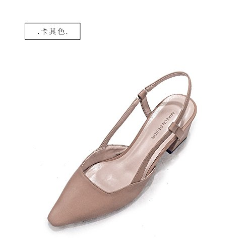 Coarse Jqdyl Khaki New Mid Female Heeled Sandals Heeled heels High Summer Shoes With Pointed Shoes Baotou High BxqHBwr