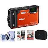 Nikon Coolpix W300 Point & Shoot Camera, Orange - Bundle 16GB SDHC Card, Camera Case, Cleaning Kit, PC Software Package