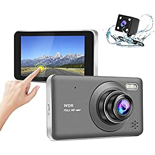 Sale Off [4-Inch IPS Touch Screen] Prorexing Front and Rear Dash Cam with Night Vision 1080p HD DVR Dash Camera for Cars 170 Super Wide Angle G Sensor Parking Monitor Motion Detection WDR