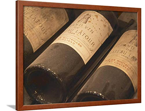 - ArtEdge Chateau Latour from Pauillac, Medoc, Bordeaux, Ulriksdal Vardshus Restaurant, Stockholm, Sweden by Per Karlsson, Brown Wall Art Framed Print, 24x32, Unmatted