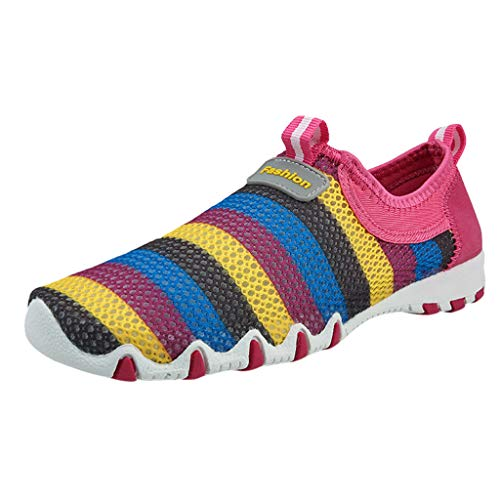 (Womens Fashion Summer Spring Casual Shoes Lightweight Mesh Breathable Striped Colorful Running Jogging Gym Sneakers Hot Pink)