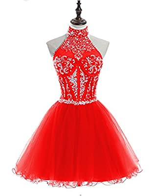 HEIMO 2017 Halter Beading Homecoming Dresses Sequined Backless Prom Gowns Short H233