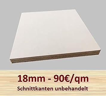 30x90 cm 18mm Multiplex Zuschnitt wei/ß melaminbeschichtet L/änge bis 200cm Multiplexplatten Zuschnitte Auswahl