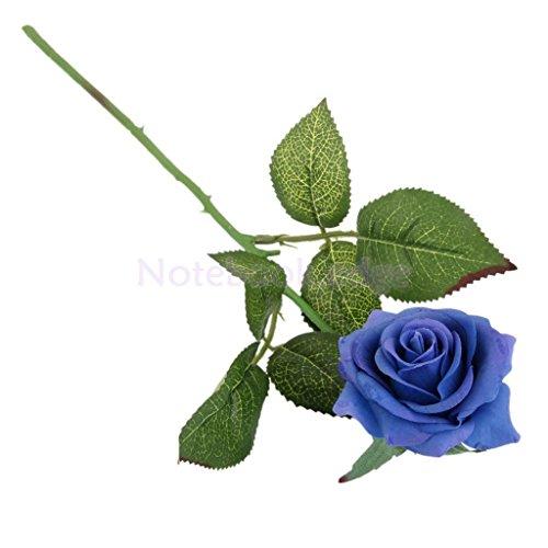 Artificial Lifelike Single Stem Rose Flower Wedding Party Craft Decor (Blue) - 3