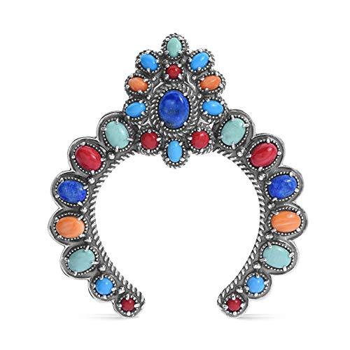 American West Sterling Silver Bright Gemstone Bold Naja Enhancer ()