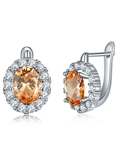 Cubic Zircon Stud Earrings Simulated Diamond Birthstone Crystal Earrings Champagne Anniversary Gifts For Her Valentine's Day Gifts Xmas Gifts Birthday Gifts for Women Girlfriend Wife Fashion Jewelry