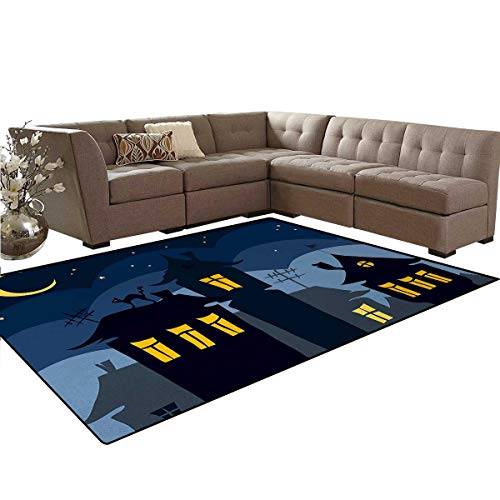 Halloween,Floor Mat,Old Town with Cat on The Roof Night Sky Moon and Stars Houses Cartoon Art,Anti-Skid Area Rug,Black Yellow -
