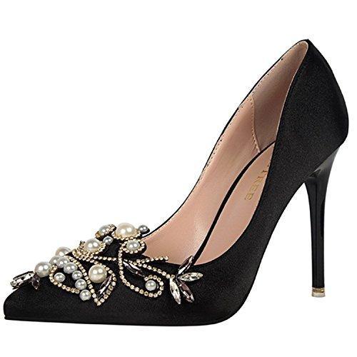 Azbro Mujer Estilete Zapato Bomba Slip-on con Perlas Dimantes Falsos Puntera Punta Negro