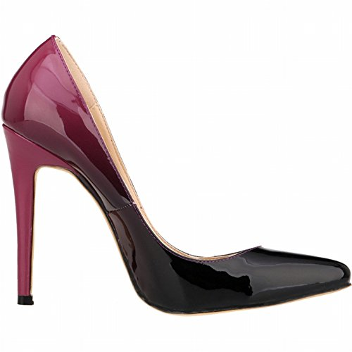 size Heels Women's 42 36 large Patent Gradient Pointed Leather ZCH High Stiletto Pumps Party Color vqaxRdOT