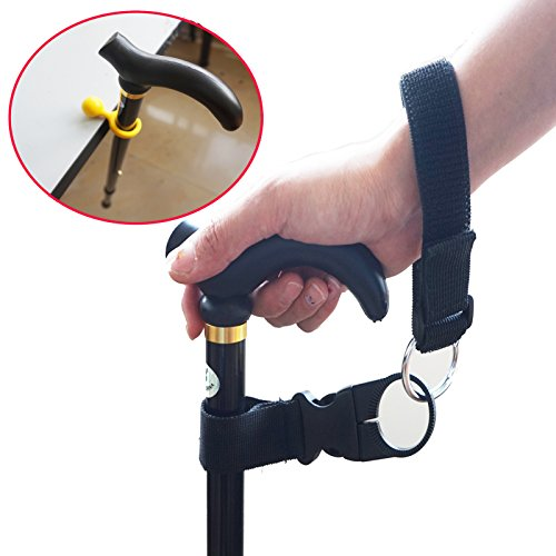 Cane/Crutch/Walking Stick Support Clip Holder (Yellow) and Elastic Wrist Strap (Black) - Pack of 1Set