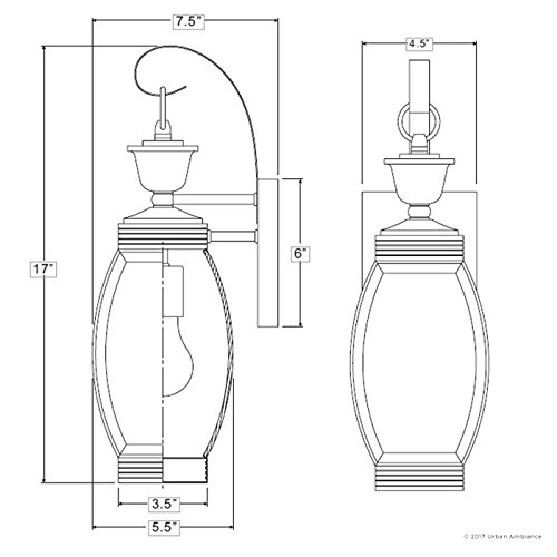 Luxury Colonial Outdoor Wall Light, Medium Size: 17''H x 5.5''W, with Transitional Style Elements, Bowed Design, Gorgeous Dark Medieval Bronze Finish and Beveled Glass, UQL1170 by Urban Ambiance by Urban Ambiance (Image #6)