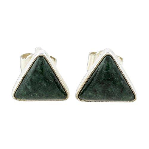 NOVICA Jade .925 Sterling Silver Stud Earrings, Dark Green Triangle of Life'