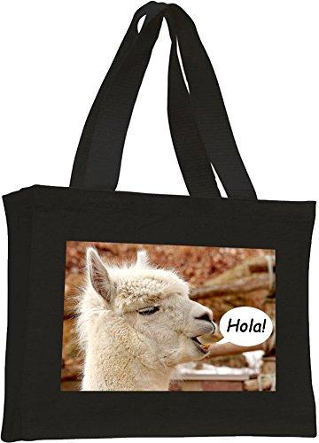 Alpaca Cotton Cotton Black shopping bag Alpaca shopping ag4waqvHx