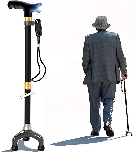 Bago Folding Walking Cane with Led Light and Tripod Pivot Base for All Terrain Grip - Canes are Lightweight and Collapsible to Pack Small for Travel and Store