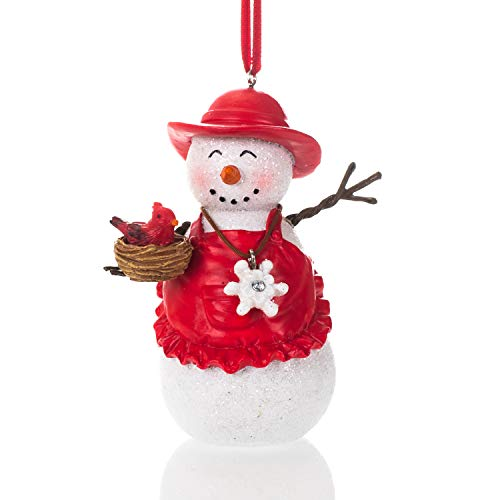 Elanze Designs Snowman with Cardinal Winter White 4 inch Resin Stone Christmas Ornament