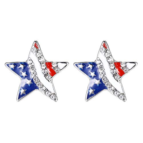 (Lux Accessories Red White Blue American Flag Star Crystal Rhinestone Earrings)