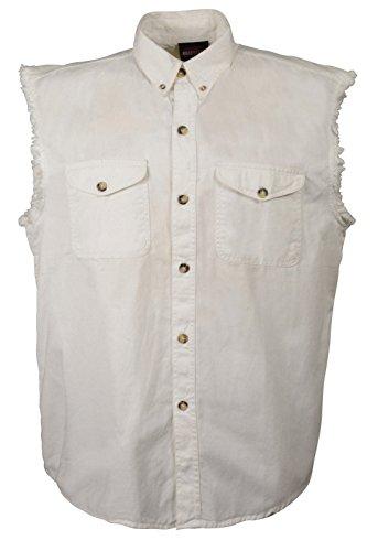 Mens Biker Riding White Cotton Cut Off Half Sleeveless Shirt with Frayed (Denim Biker Shirt)