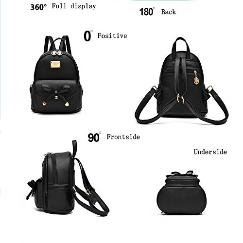 Girl with Bow Cute Leather Backpack Mini Backpack Wallet by QANPE (Image #3)