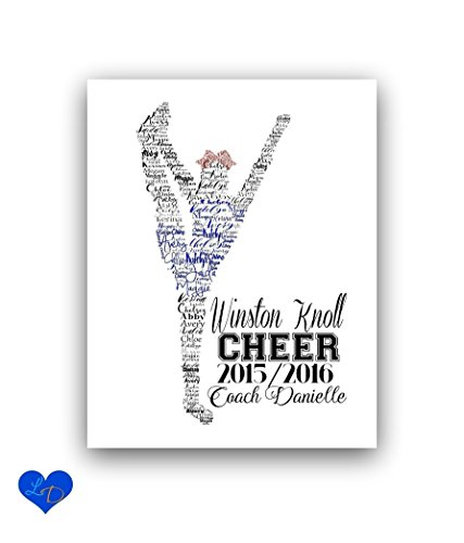 Cheerleader Personalized Team Name Print, Coach Gift, 8x10 or 11x14 - Design Chipboard Picture Frame