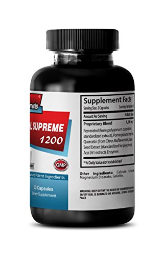 Antioxidant Healthy Blend 1200mg- Resveratrol Supreme - Maximum Strength - Red Wine Pills (3 Bottles, 180 Capsules) by Sport Supplements (Image #2)