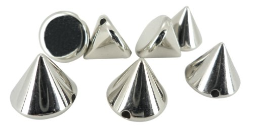 8mm Silver Acrylic Cone Spikes Studs Spots Punk Findings Pyramid Leather Craft Belts Bags Caps Appliques - Studs Pyramid Back Flat