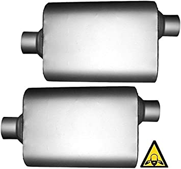 """PAIR of Single Chamber Performance Mufflers 3/"""" ID center//center COlt"""