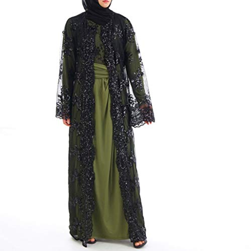 iZHH Muslim Costume for Women Lace Sequin Cardigan Maxi Dress Kimono Open Abaya Robe Kaftan Dubai -
