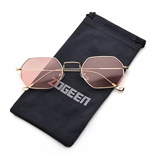 ZOGEEN Men Women Sunglasses Small Metal Frame Asymmetry Temple Z674 - Best Men Oval For Face Glasses