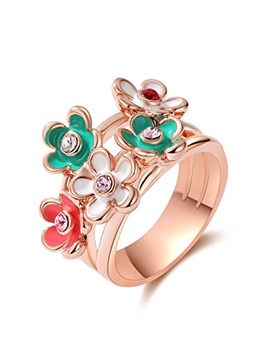 (XZP Wide Rose Gold Rings 3 Stackable Enamel Flower Ring for Women Made with Swarovski CZ (size 8.75))