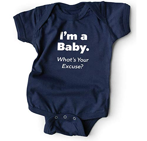 WRYBABY Funny Baby Bodysuit | I'm a Baby. What's Your Excuse? | Navy, 6-12M (Whats The Best Pregnancy Test To Use)
