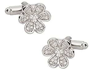 Cuff-Daddy Pave Crystal Flower Cufflinks with Presentation Box