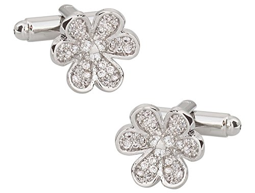 (Cuff-Daddy Pave Crystal Flower Cufflinks with Presentation Box )