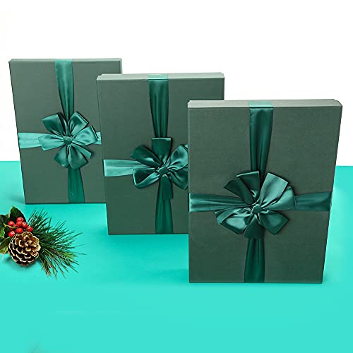 JOHOUSE Gift Box, Square Large Gift Box Dark Green Gift Box for Christmas Gifts, Wedding, Valentines Day (14x10x2 INCH)