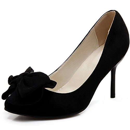 Coolcept Femmes Mode Stiletto Pompes Daim Slip Sur Dames Robe Talons Hauts Chaussures Noir