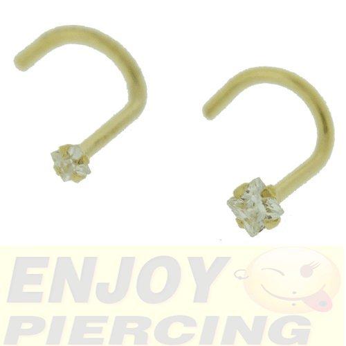 Piercing Nez Or Massif 9 Carats Cristal Carré Blanc Griffé 2mm