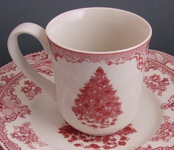 (Red Christmas Tree Johnson Brothers Old Britain Castles Mug, Set of 4)