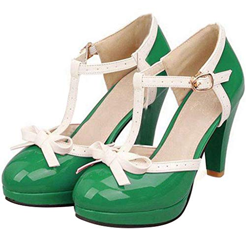 Green Patent Mary Jane - Vitalo Women's High Heel Platform Pumps with Bows Vintage T Bar Court Shoes Size 8 B(M) US,Green