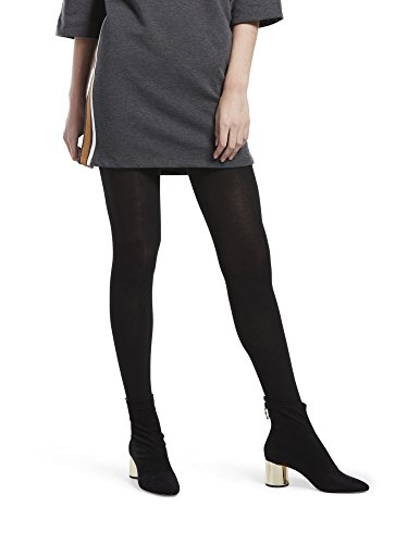 Sweater Tights with Non Control Top, Assorted, Flat Knit-Black, M/L ()