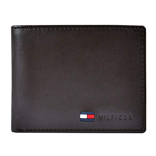Tommy Hilfiger Men's Leather Wallet - Thin Sleek Casual Bifold with 6 Credit Card Pockets and Removable ID Window, British Tan